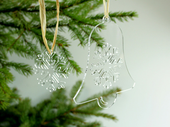 Vánoční zvonek s vločkou (20ks)