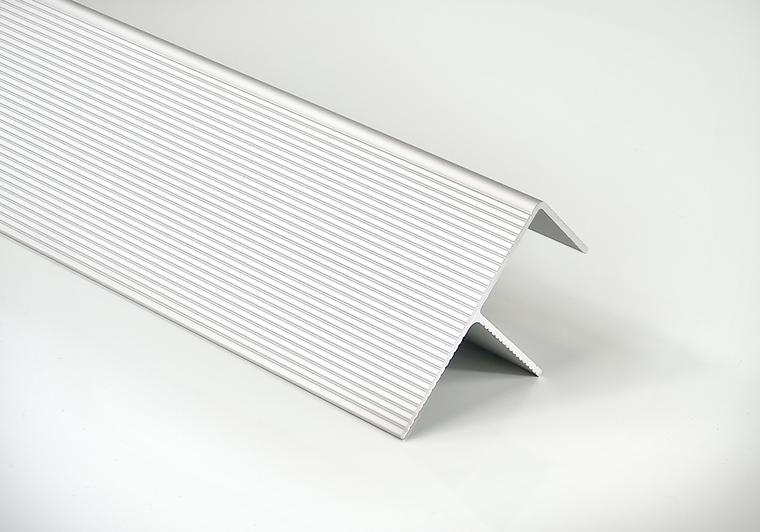"""Počáteční a koncový okopový hliníkový profil Elox stříbrný """"F"""", 40/65 mm, délka 6 m Terrace"""