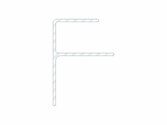 """Počáteční a koncový okopový hliníkový profil F"""" 40/57 mm"""