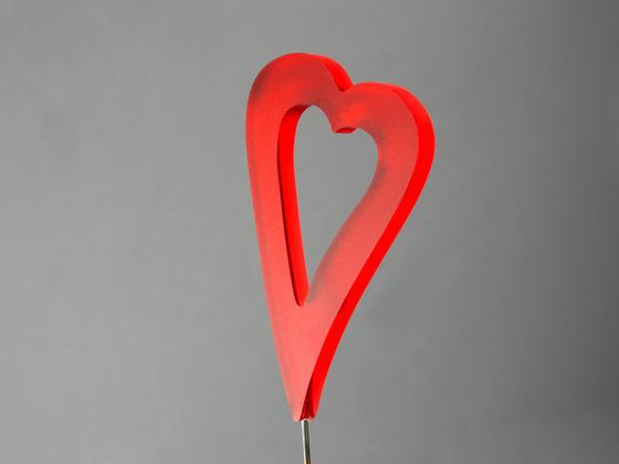 Srdce zápich podlouhlé červené