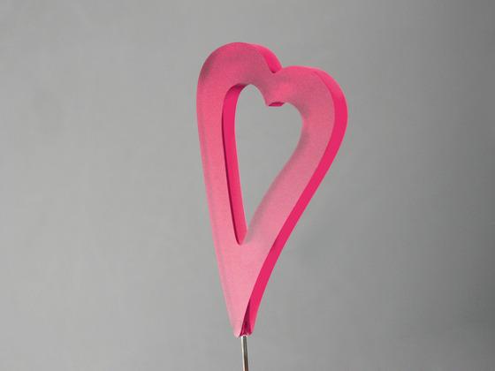 Srdce zápich podlouhlé růžové