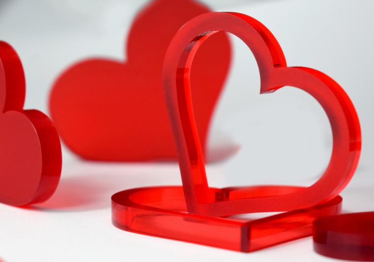 Valentýnská srdce 10 ks - červená