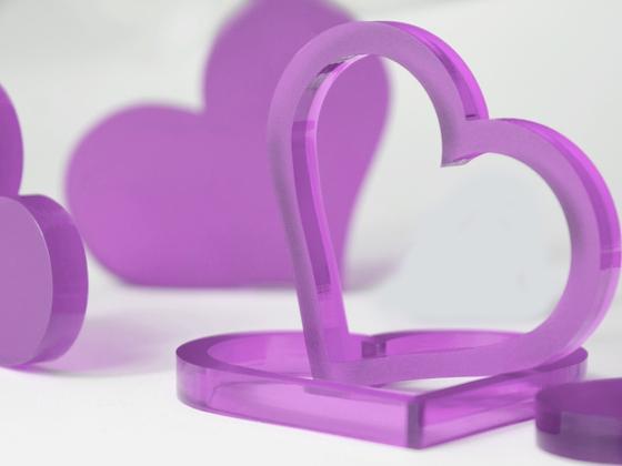 Valentýnská srdce 10 ks - světle fialová