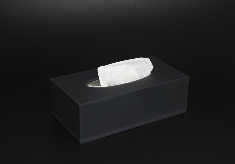 Box na kapesníky šedý satinovaný