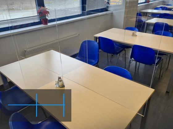 Ochranná gastro přepážka pro stůl 160 x 80 cm