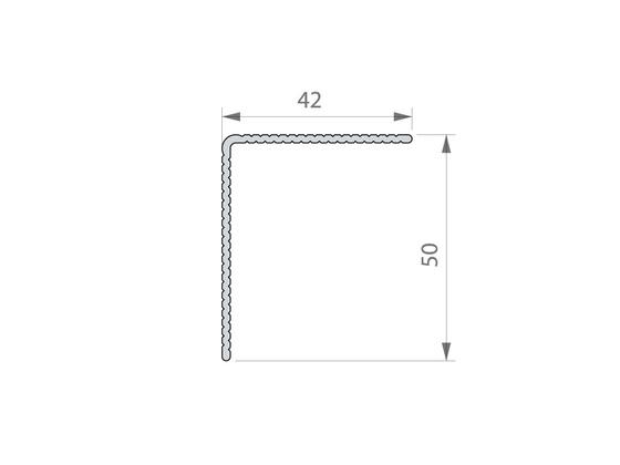 """Okopový hliníkový profil Elox stříbrný """"L"""", 42/50 mm, délka 4,5 m"""